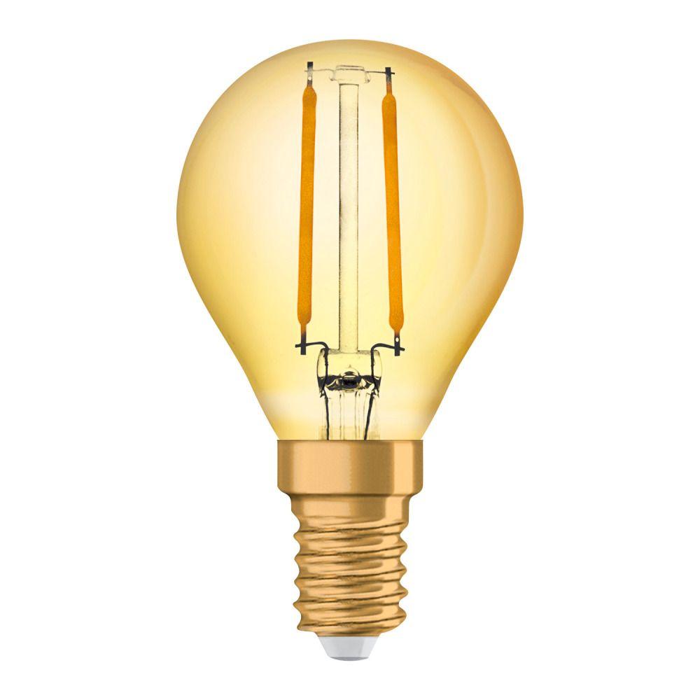 Osram Vintage 1906 LED Classic E14 P 2.5W 824 Fadenlampe Gold   Extra Warmweiß - Ersatz für 22W