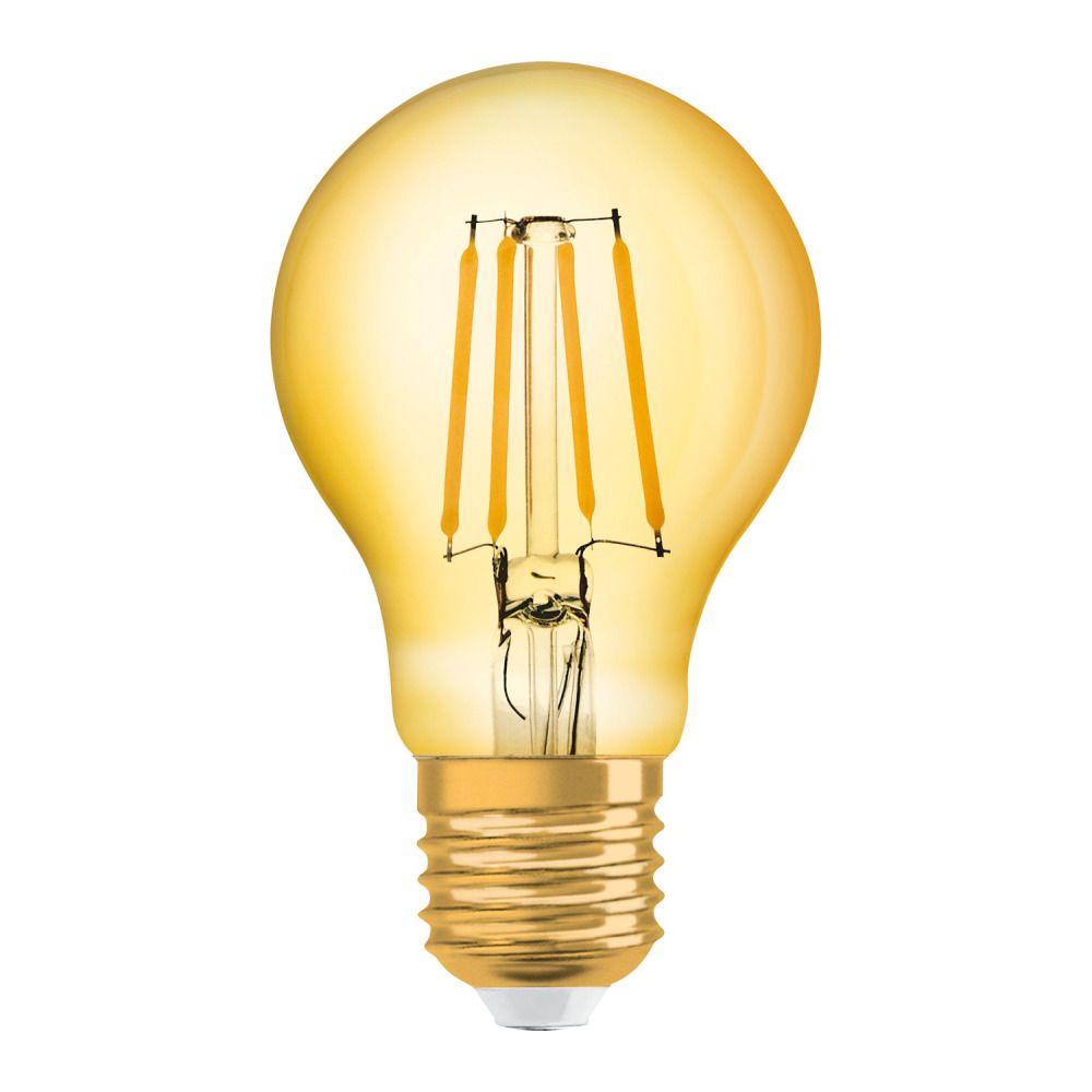 Osram Vintage 1906 LED Classic E27 A 4W 824 Fadenlampe Gold   Extra Warmweiß - Ersatz für 35W