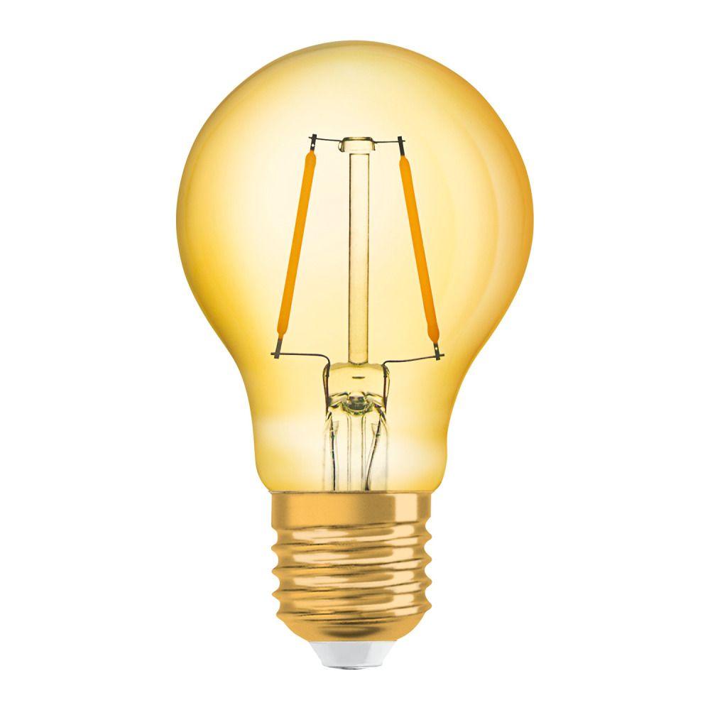 Osram Vintage 1906 LED Classic E27 A 2.5W 824 Fadenlampe Gold | Extra Warmweiß - Ersatz für 22W