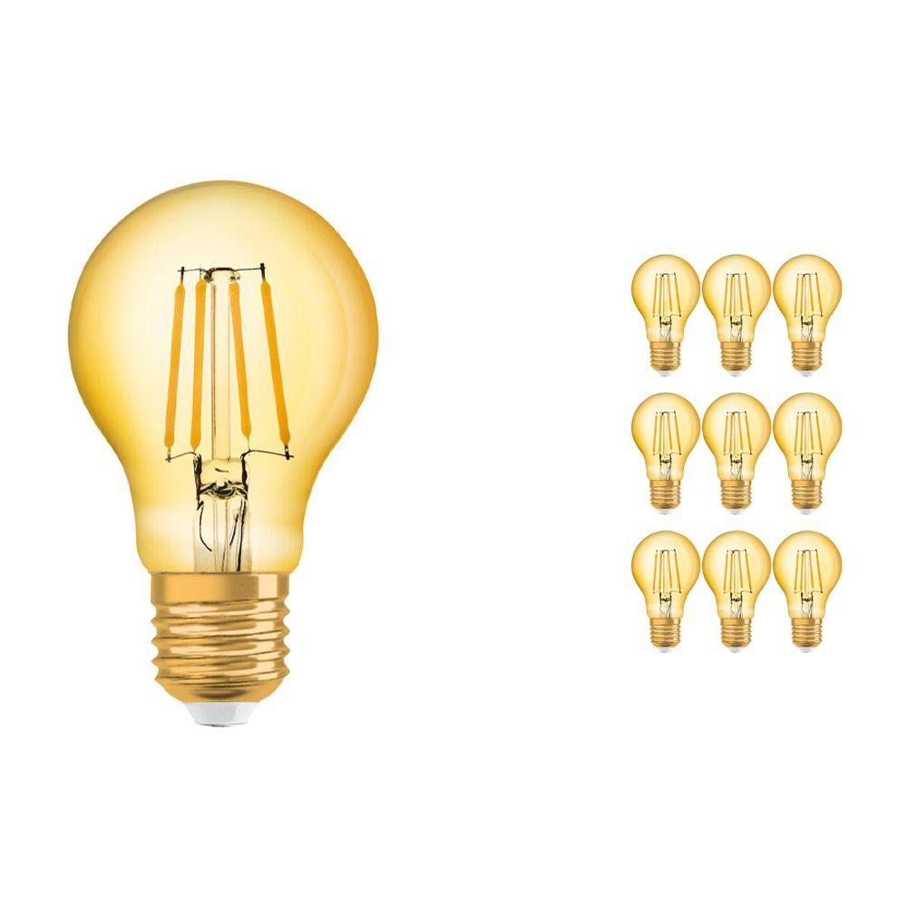 Mehrfachpackung 10x Osram Vintage 1906 LED klassisch E27 A 4W 824 Fadenlampe Gold | Extra Warmweiß - Ersatz für 35W
