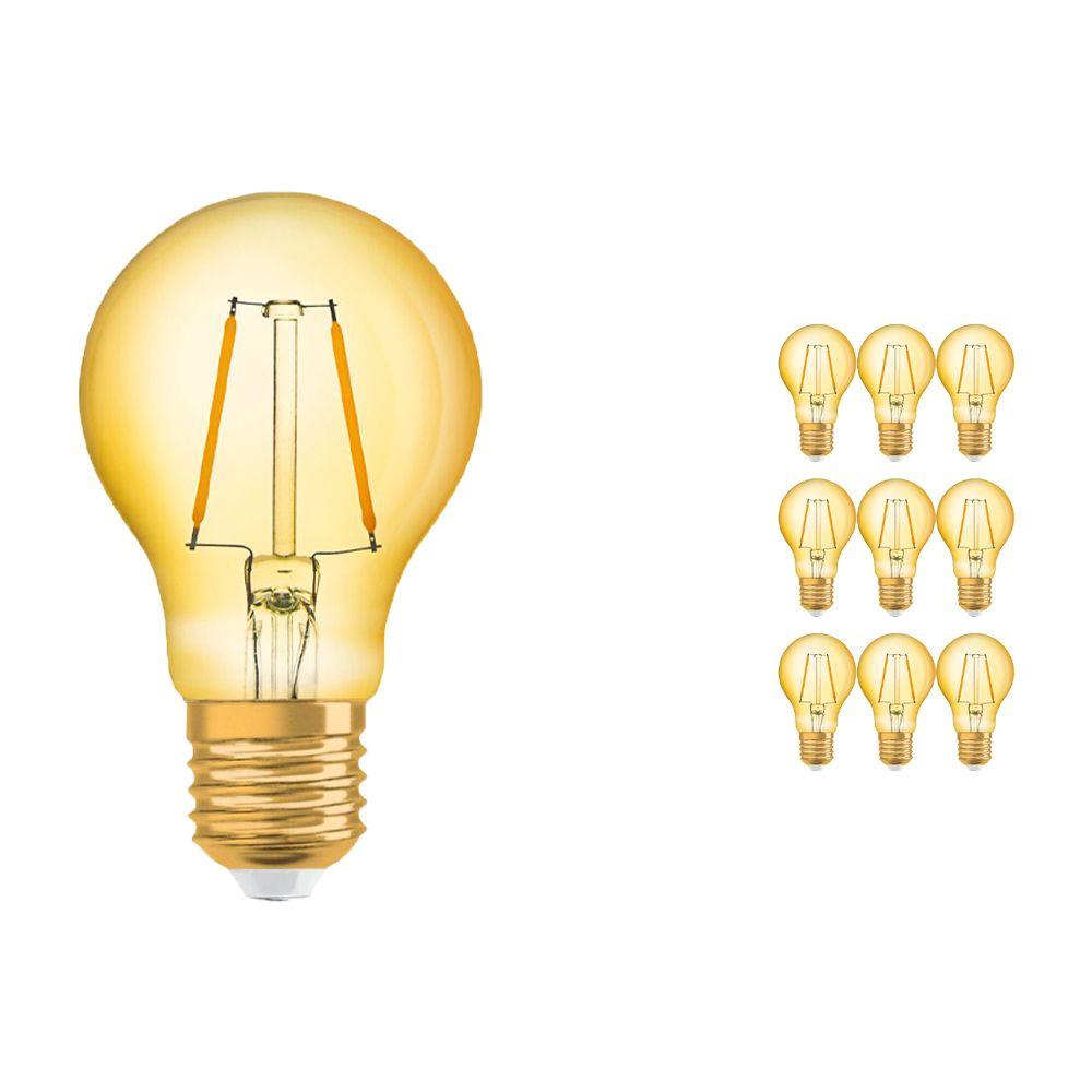 Mehrfachpackung 10x Osram Vintage 1906 LED klassisch E27 A 2.5W 824 Fadenlampe Gold   Extra Warmweiß - Ersatz für 22W
