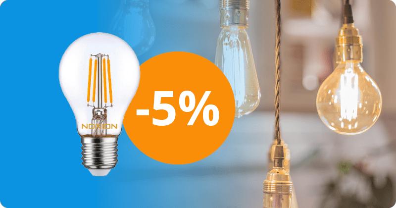 5 % auf Filament LED-Lampen von Noxion